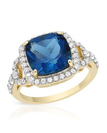 Yellow Gold  Ring With 6.35ctw - Genuine Topaz and Zircons