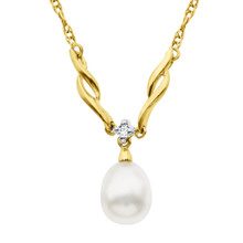 10K Gold Pearl Drop Necklace