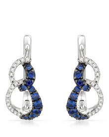 14K White Gold Earrings With - Diamonds and Sapphires