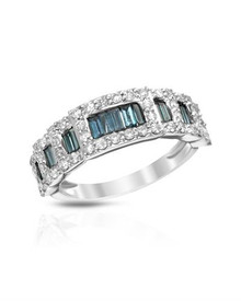 14K White Gold Ring With 1.03ctw Genuine Fancy Blue enhanced Diamonds