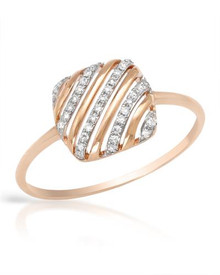 14K Rose Gold Ring With Genuine Clean Diamonds