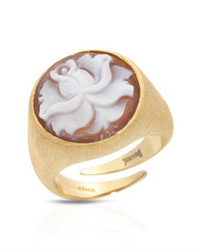 14K/925 Gold plated Silver Ring  With Genuine Cameo .