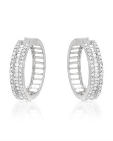 Hoops Earrings 18K White Gold With 4.07ctw Genuine Super Clean Diamonds.
