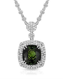 MICHAEL CHRISTOFF  Necklace18K White Gold. With 20.62ctw Genuine Diamonds and Tourmaline