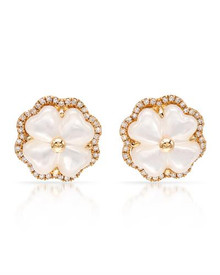 VIDA  Earrings14K Yellow Gold With Precious Stones - Genuine Clean Diamonds and Mother of pearls