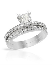 Ring 14K White Gold With 1.55ctw Precious Stones - Genuine Diamonds
