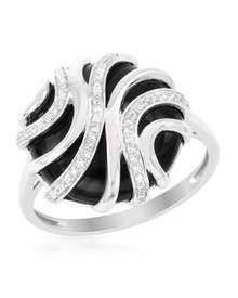 VIDA 14K White Gold Ring  With Genuine Clean Diamonds and Onyx