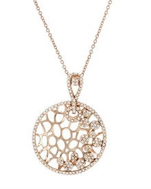 14K Rose Gold Necklace With Genuine Diamonds
