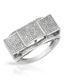 White Gold Ring with Genuine Diamonds