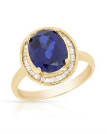 18K Yellow Gold Ring With Diamonds and Created Sapphire