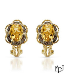 FPJ 14K Yellow Gold Earrings With  Fancy Red enhanced Clean Diamonds