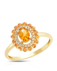 14K Yellow Gold Ring With - Genuine Citrine, Diamonds and Sapphires
