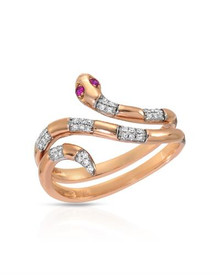 VIDA  14K Rose Gold Ring With- Genuine Clean Diamonds and Rubies