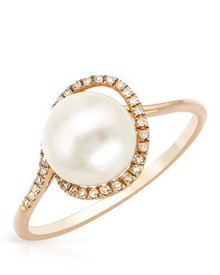VIDA 14K Rose Gold Ring With Diamonds and Freshwater Pearl