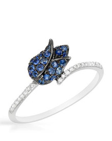VIDA 14K White Gold Ring With. Diamonds and Sapphires