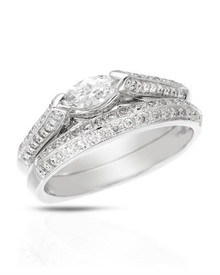 14K White Gold Ring  Genuine Clean Diamonds