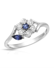 VIDA 14K White Gold Ring With  Diamonds and Sapphires