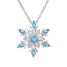 Sterling Silver Blue and White Snowflake Pendant-Necklace with Swarovski Crystals