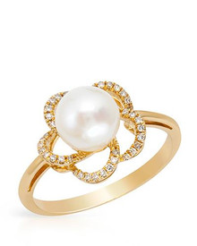 VIDA 14K Yellow Gold  Ring With Diamonds and 7mm Freshwater Pearl