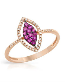 VIDA 14K Rose Gold Ring With Diamonds and Sapphires