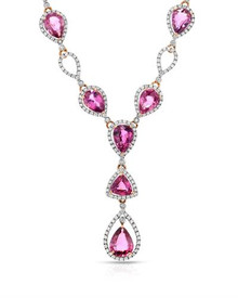 MICHAEL CHRISTOFF 18K Rose Gold Necklace  Diamonds and Sapphires