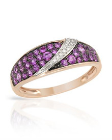 VIDA 14K Rose Gold Ring With Diamonds and Sapphires.