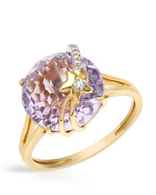 VIDA 14K Yellow Gold Cocktail Ring  Amethyst and Clean Diamonds