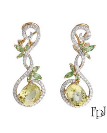 FPJ 14K Yellow Gold  Earrings With Diamonds, Quartz and Tsavorite Garnets