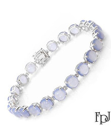 FPJ 14K White Gold Bracelet With Chalcedonies
