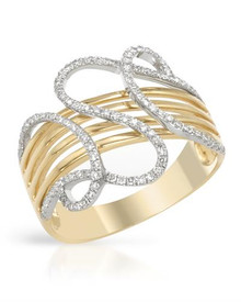 VIDA  14K Two tone Gold Ring With Genuine Clean Diamonds