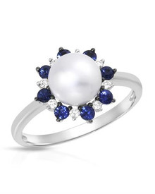 VIDA 14K White Gold Ring With Diamonds, Pearl and Sapphires