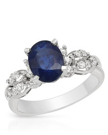 FORELI 14K White Gold Ring With  Diamonds and Sapphire