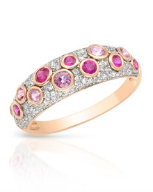 VIDA  14K Rose Gold Ring With  Diamonds, Rubies and Sapphires