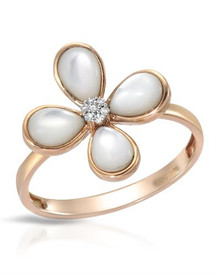 VIDA14K Rose Gold  Ring With  Diamonds and Shells