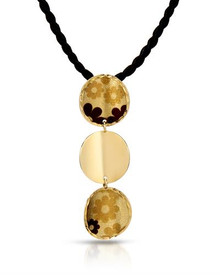 GENERO Made in Italy 14K Yellow Gold and Black Silk  Necklace Multicolor Enamel,