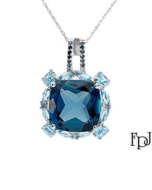 FPJ  White Gold Necklace WithIntense Blue enhanced Diamonds, Topazes