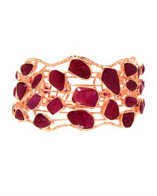 Gold plated Silver Bracelet With Genuine Rubies