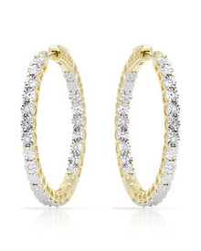 Gold plated Silver Hoops Earrings With Genuine Diamonds