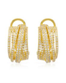 14K/92  Gold plated Silver Earrings With Cubic zirconia