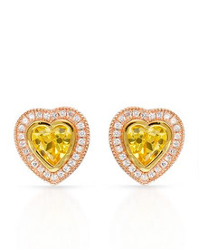 14K/925 Gold plated Silverr Heart Earrings With Cubic zirconia