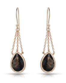 14K/925 Gold plated Silver Earrings With Genuine Quartz