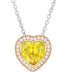 14K/925 Gold plated Silver Heart Necklace With 6.90ctw Cubic zirconia