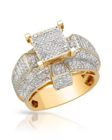 LUNDSTROM 14K/925 Gold plated Silver Ring With  Diamonds