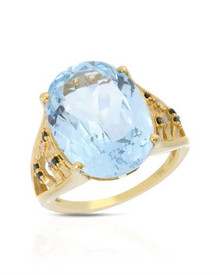 Gold plated Silver Ring With  Genuine Diamonds, Spinels and Topaz