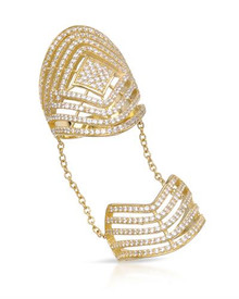 Gold plated Silver Finger Long Ring With Cubic zirconia