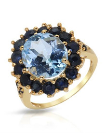 Gold plated Silver Ring Diamonds, Sapphires and Topaz