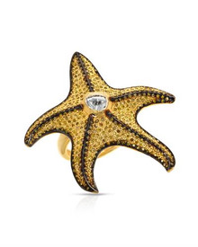 Gold plated Silver Ring Genuine Fancy Yellow enhanced Diamonds