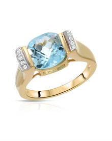 Ring With 3.62ctw Genuine Topazes 14K/925 Gold plated Silver