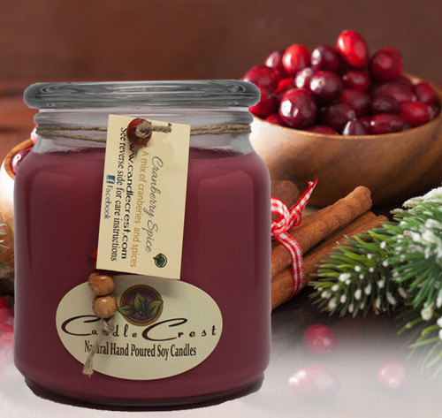 A combination of luscious ripe cranberries with spicy hints of cinnamon, nutmeg and vanilla.