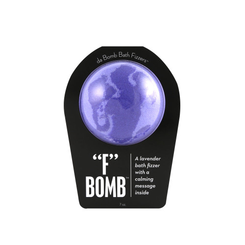 """A lavender bath fizzer with a calming message inside  Dissolve stress! Melt anger! This fragrant fizzer is designed to do just that. So the next time you're FRUSTRATED, drop an """"F"""" bomb. (Into your tub, of course.) Hold it in your hand as it dissolves, because there's a calming message inside.   Warning: Small parts. Not for children under 3."""